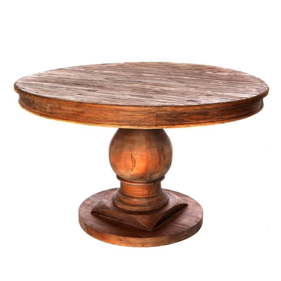 mesa comedor redonda madera reciclada pie bola 130 el
