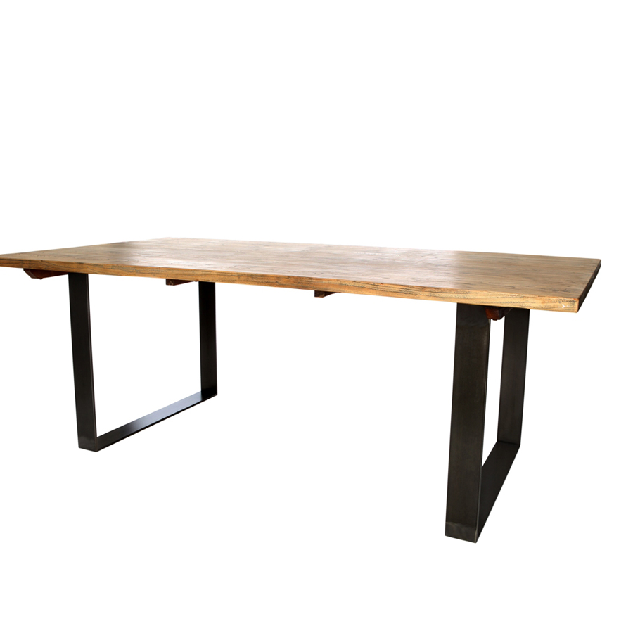 Mesa de comedor madera reciclada y forja el globo - Tableros de madera maciza para mesas ...