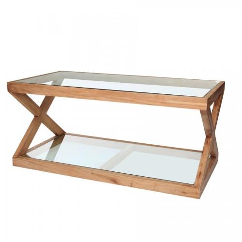 Mesa auxiliar hierro y madera el globo mueblesel globo for Mesas de centro madera y cristal