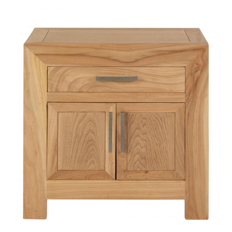 Mesita cuadrada 60 1 cajon y puerta madera el globo for Mesita de comedor