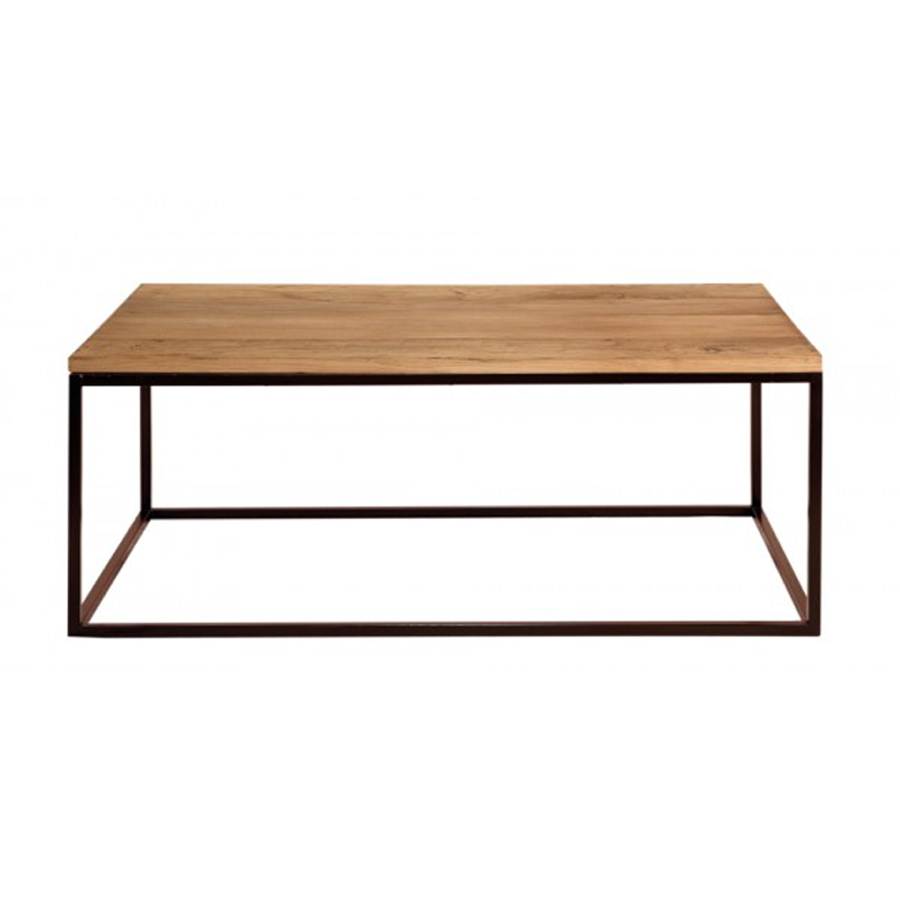 Mesa centro rectangular hierro y madera el globo - Mesa de centro de madera ...